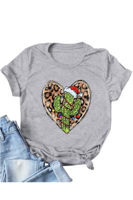 Light Gray Leopard Heart Shape T-shirts