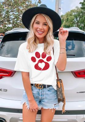 White Dog Paw Heart Print T-shirts