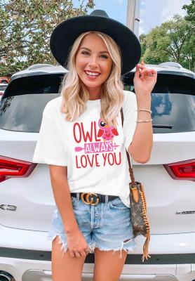 White Letter Print T-shirts