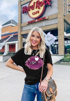 Black Kiss Lip Print T-shirts