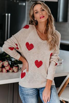 White Heart Shape V Neck Sweaters