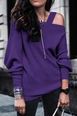 Purple Off Shoulder Sweatshirt Pullover