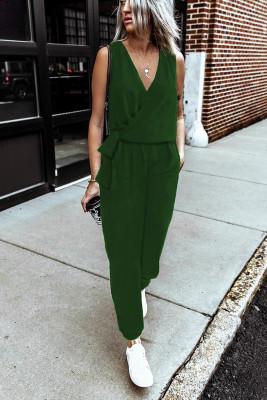 Green Deep V-neck Sleeveless Solid Jumpsuit
