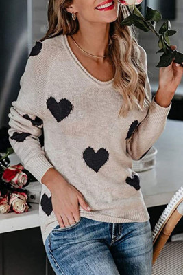 Apricot Heart Shape V Neck Sweaters