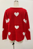 Red Heart Shape V Neck Sweaters