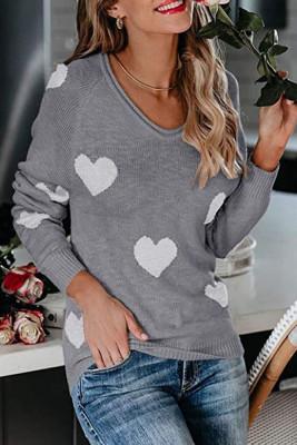 Gray Heart Shape V Neck Sweaters