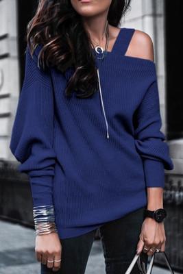 Blue Off Shoulder Sweatshirt Pullover