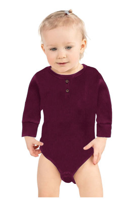 Wine Red Solid Color Botton Baby Rompers