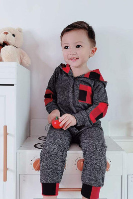 Hooded Red Plaid Stitching Two-pieces Suit