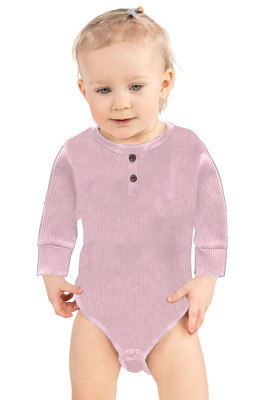Pink Solid Color Botton Baby Rompers