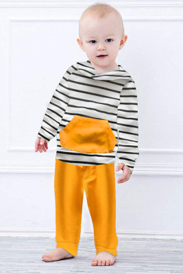 Yellow Long Sleeve Hooded Sweatshirt Top Striped Pants Set