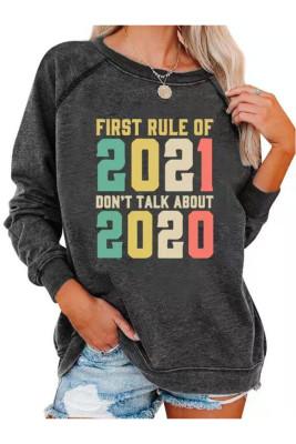 Dark Gray Letter Print Round Neck Sweatshirts Pullover