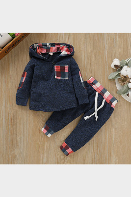 Hooded Navy Plaid Stitching Two-pieces Suit