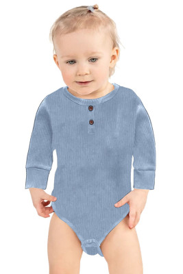 Light Gray Solid Color Botton Baby Rompers