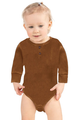 Brown Solid Color Botton Baby Rompers