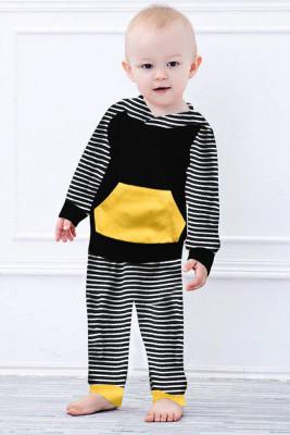 Black Long Sleeve Hooded Sweatshirt Top Striped Pants Set