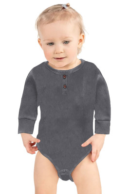 Gray Solid Color Botton Baby Rompers
