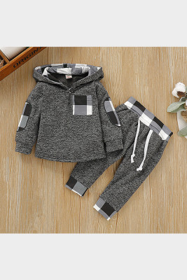 Hooded Black Plaid Stitching Two-pieces Suit