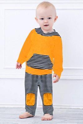 Orange Long Sleeve Hooded Sweatshirt Top Striped Pants Set