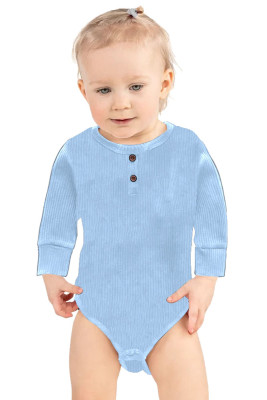 Light Blue Solid Color Botton Baby Rompers
