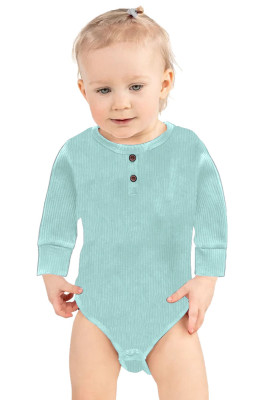 Green Solid Color Botton Baby Rompers