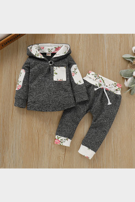 Hooded Print Stitching Two-pieces Suit