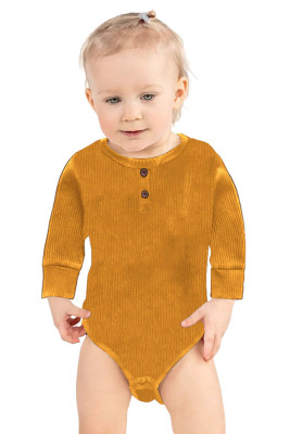 Yellow Solid Color Botton Baby Rompers
