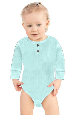 Light Green Solid Color Botton Baby Rompers