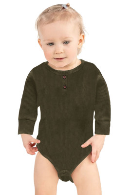 Army Green Solid Color Botton Baby Rompers