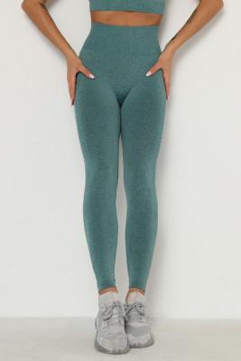 Green Solid Color Yoga Leggings