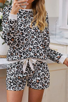 White Leopard Long Sleeve Loungewear