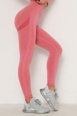 Pink Solid Color Yoga Leggings