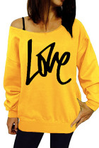 Yellow Love Letter Print Tops