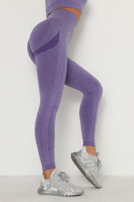 Purple Solid Color Yoga Leggings