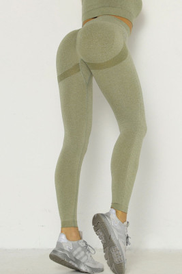 Army Green Solid Color Yoga Leggings