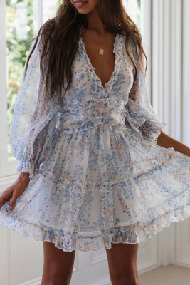 Blue Floral Ruffle Dresses