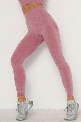 Wine Red Solid Color Yoga Leggings