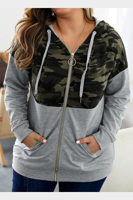Gray Camo Patchwork Plus Size Hoodies