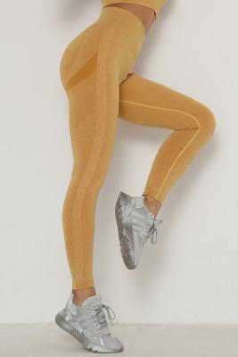 Yellow Solid Color Yoga Leggings