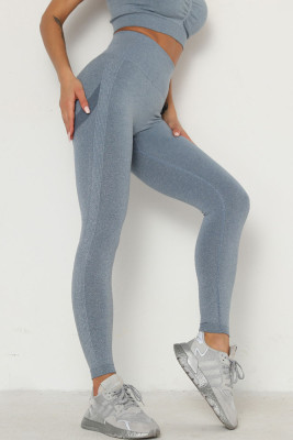 Blue Solid Color Yoga Leggings