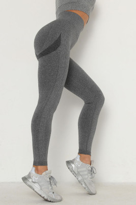 Dark Gray Solid Color Yoga Leggings