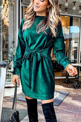 Green Round Neck With Belt Dresses