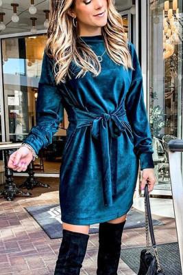 Blue Round Neck With Belt Dresses