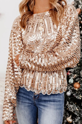 Gold Sequin Loose Tops