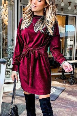 Wine Red Round Neck With Belt Dresses