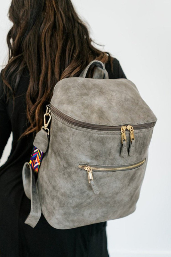 Gray Double Pockets Backpack