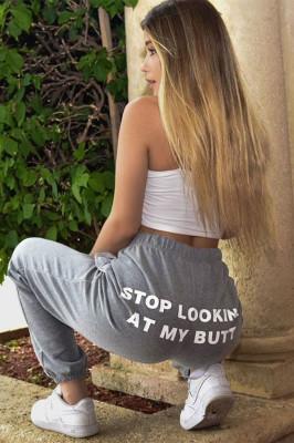 Gray Letter Print Elastic Pants