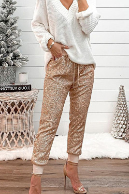 Gold Sequin Patchwork Pants