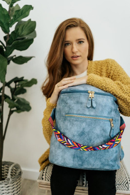 Blue Double Pockets Backpack