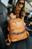 Brown Double Pockets Backpack